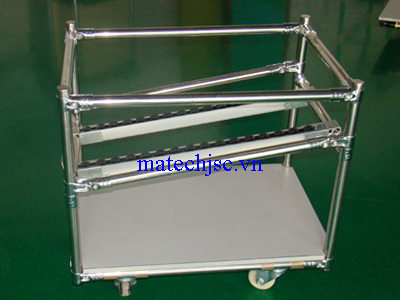 Xe đẩy hàng ống thép bọc nhựa khớp nối Hj có thanh roller
