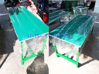 Bàn thao tác khung thép sơn tĩnh điện màu xanh