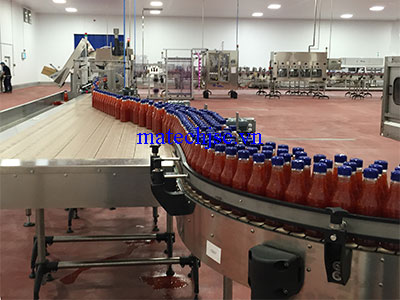 Băng tải xích bản lề nhựa dây truyền sản xuất thực phẩm