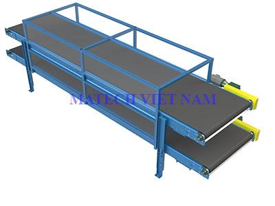 Băng tải hai tầng PVC khung thép
