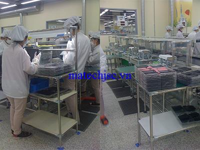 Bàn thao tác phòng sạch khung ống inox khớp nối HJ