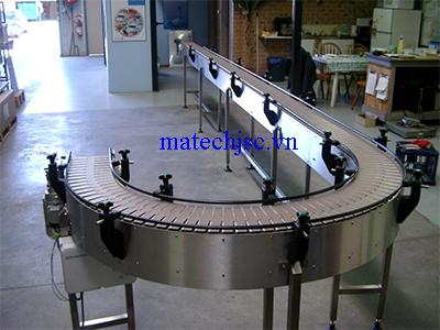 Băng tải xích bản lề nhựa uốn cong 180 độ